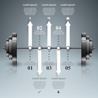 Esporte barbell infográfico.