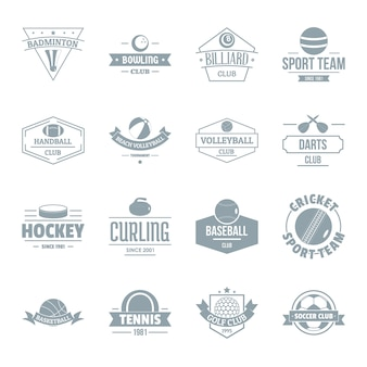 Esporte bolas logotipo conjunto de ícones