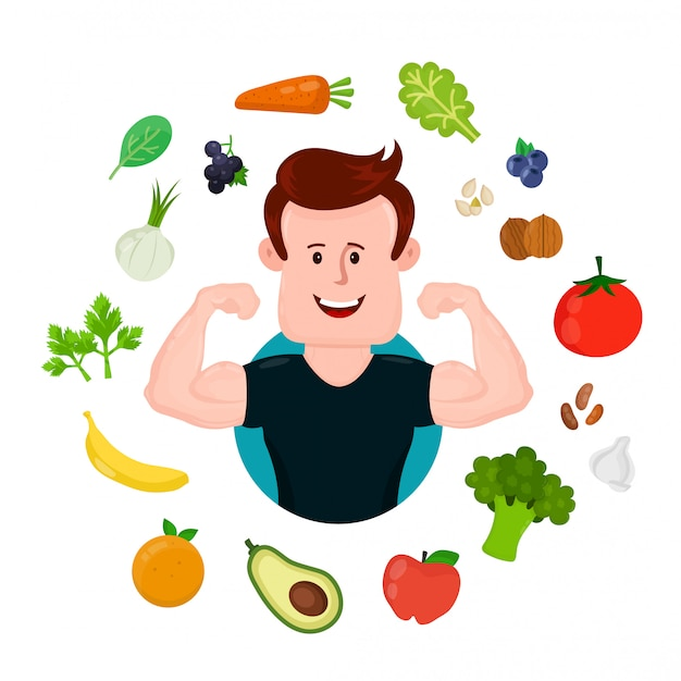 Esporte bombeado fitness jovem em torno de frutas e legumes.