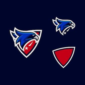 Esporte cabeça águia cor projeta modelo de vetor de ilustração