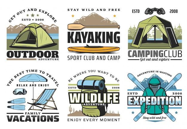 Esporte caiaque, camping, mergulho e caminhada