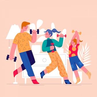 Esporte casa familiar exercitando ilustração plana
