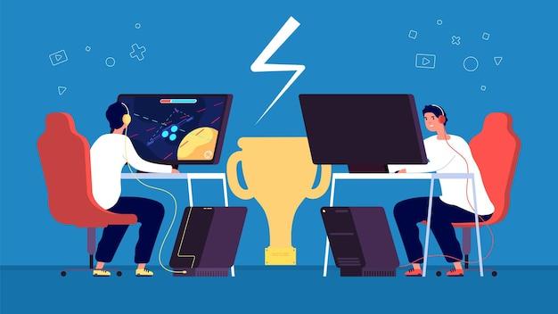 Esporte cibernético. equipe de jogadores profissionais da esport joga videogame online em computadores no conceito de vetor de torneio. esporte eletrônico profissional de ilustração, jogador profissional de campeonato