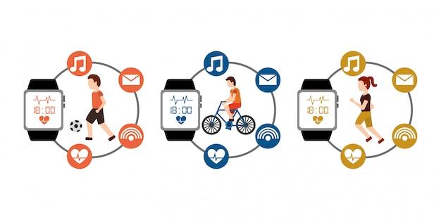 Esporte conjunto pessoas fitness ativo com tecnologia wearable relógio inteligente