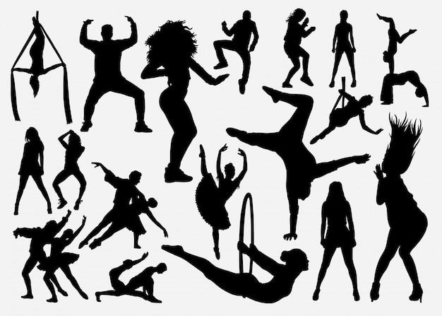 Esporte dança masculina e feminina silhueta