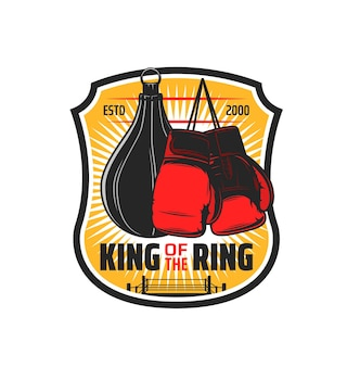 Esporte de boxe, bolsa do clube de kickboxing e emblema de luva