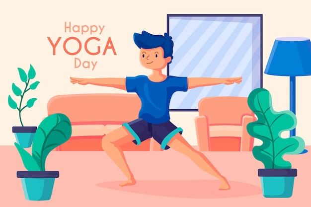 Esporte de dia feliz ioga dentro de casa