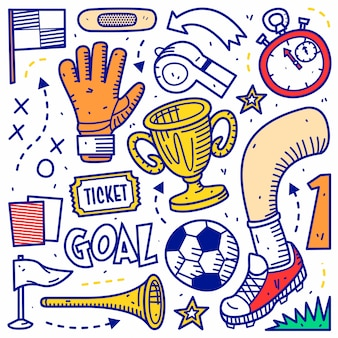 Esporte de doodle de futebol