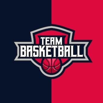 Esporte de equipe de basquete e emblema do logotipo do esporte