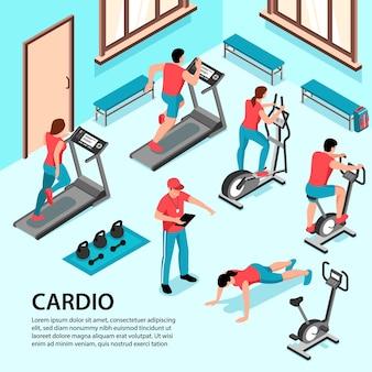 Esporte de fitness isométrico interno com vista da sala de ginástica com personagens humanos