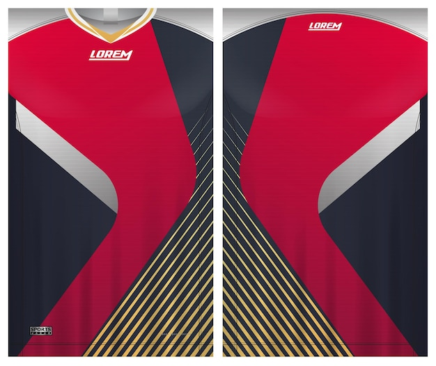 Esporte de futebol de jersey, tecido uniforme para modelo de vista frontal e traseira