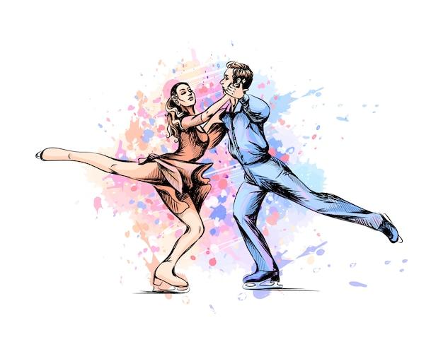 Esporte de inverno abstrato patinação artística jovem casal patinadores do respingo de aquarelas. esporte de inverno. ilustração de tintas.