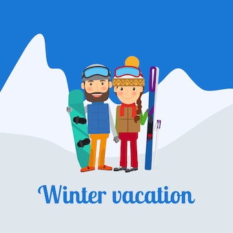 Esporte de inverno, casal de férias