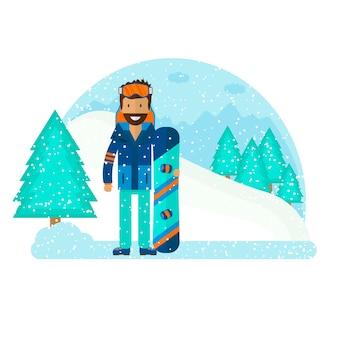 Esporte de inverno com personagem e esqui, equipamento de snowboard definido em design de estilo simples.
