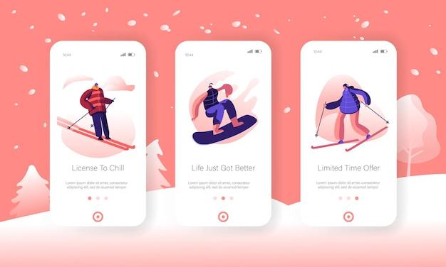 Esporte de inverno e recreação estilo de vida mobile app página conjunto de tela a bordo.