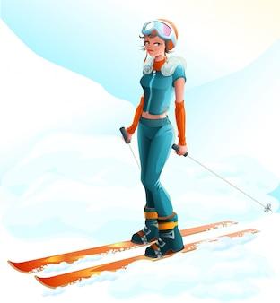 Esporte de inverno. esquiador de mulher jovem e bonita