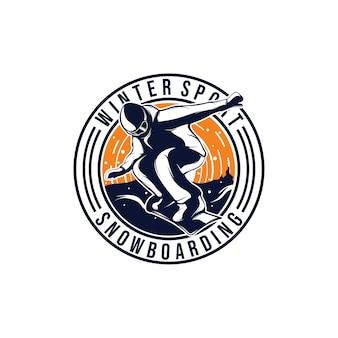 Esporte de inverno. modelo de design de logotipo de snowboard