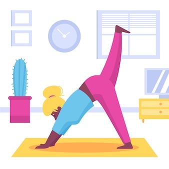 Esporte de ioga se move dentro de casa