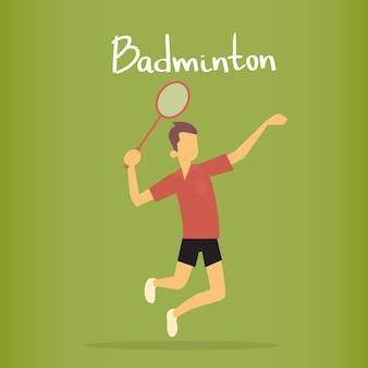 Esporte de jogador de badminton esporte concorrência plana