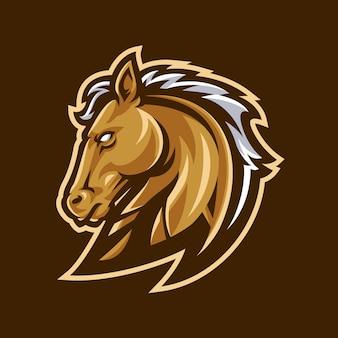 Esporte de logotipo de mascote de cavalo.