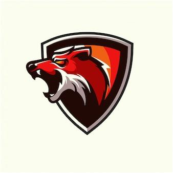 Esporte de logotipo de raposa vermelha