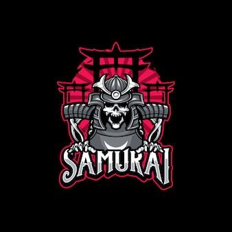 Esporte de logotipo de samurai de caveira