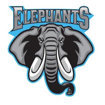 Esporte de mascote de cabeça de elefante