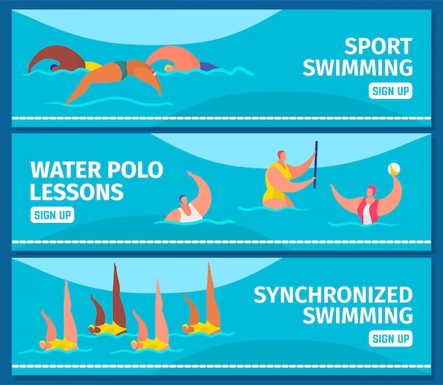 Esporte de natação com nadadores profissionais de pessoas na piscina, banners web definir ilustração plana.