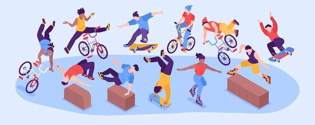 Esporte de rua radical horizontal estreito com um grupo de meninos e meninas adolescentes fazendo parkour de patinação e skate