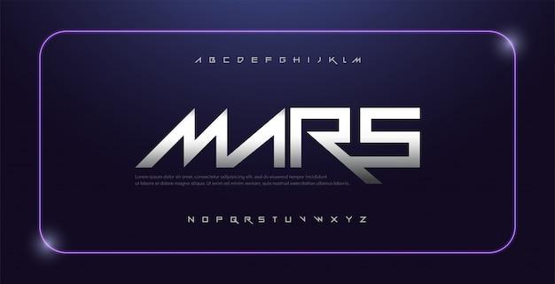Esporte de tecnologia moderna tipografia alfabeto fonte