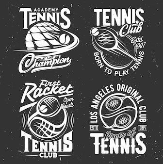 Esporte de tênis. jogando raquetes e bolas. equipe de esportes de tênis, emblemas monocromáticos de academia com tipografia branca.