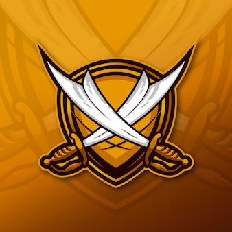 Esporte do logotipo do mascote da espada