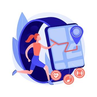 Esporte e fitness tracker ilustração em vetor conceito abstrato. faixa de atividade, monitor de saúde, dispositivo de pulso, aplicativo para corrida, ciclismo e metáfora abstrata de treinamento diário.