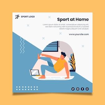 Esporte em casa flyer quadrado