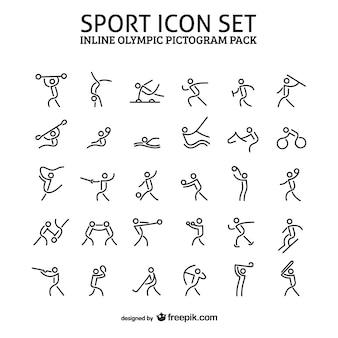 Esporte em linha pacote de ícone pictograma