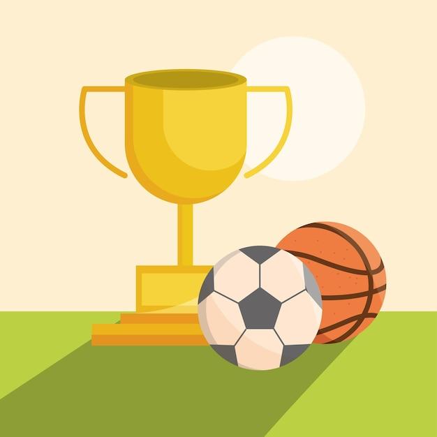 Esporte equiment troféu prêmio bolas de basquete de futebol