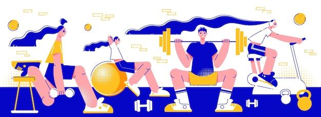 Esporte fitness centro de treino pessoas se exercitando com barbilhões equilibrar máquina de treinamento de bola ilustração plana horizontal composição