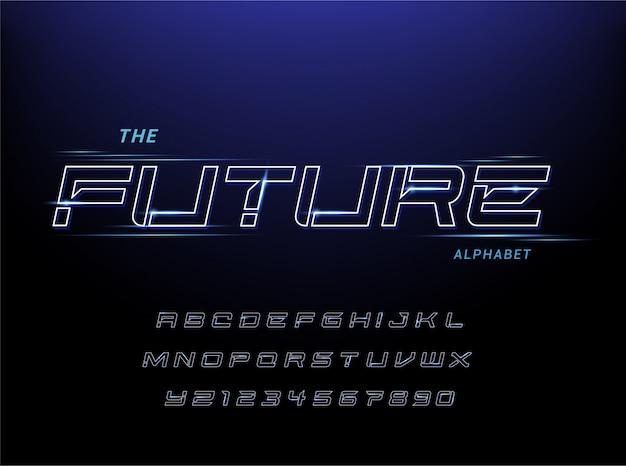 Esporte fonte futurista alfabeto moderno. fontes de estilo urbano de tipografia para tecnologia, digital, design de logotipo do filme.