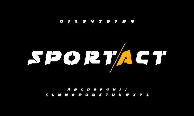 Esporte fontes aventura alfabeto de ação com estilo forte e ousado