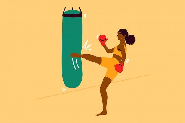 Esporte, força, luta, treinamento, conceito de aptidão