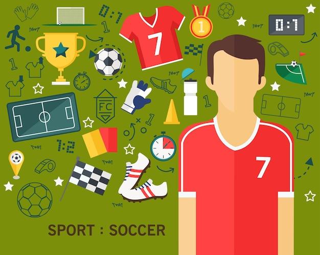 Esporte futebol conceito plana ícones fundo