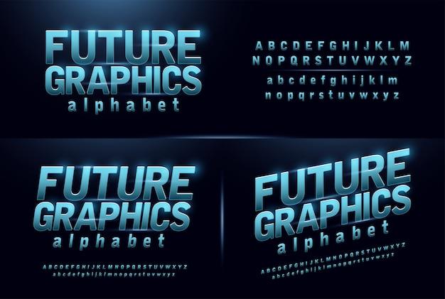 Esporte futuro azul brilho moderno alfabeto fontes