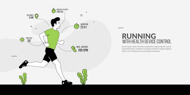 Esporte homem correndo com relógio inteligente na mão, rastreamento de dispositivo de saúde, tecnologia moderna de fitness