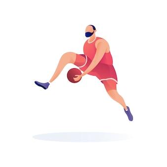 Esporte jogador basquete vetor mascote illustartion moderno