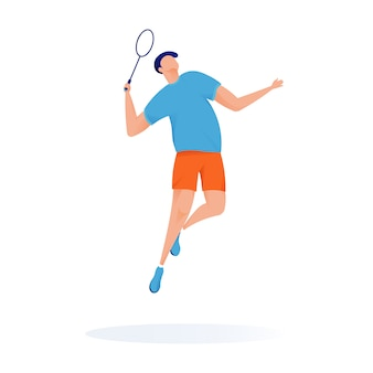 Esporte jogador tênis vetor mascote illustartion moderno