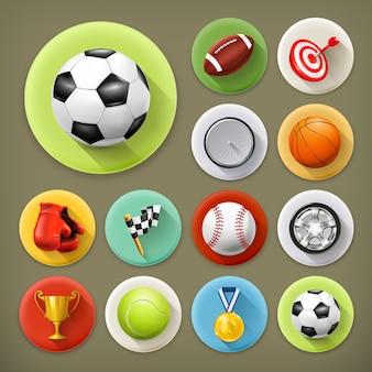 Esporte, jogos e lazer, conjunto de ícones de sombra longa