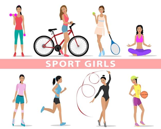 Esporte lindas garotas. mulheres praticando esportes