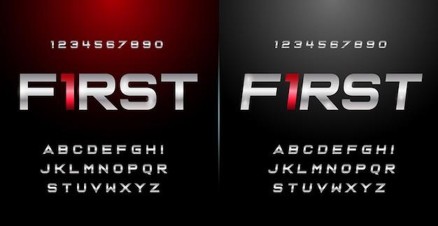 Esporte moderno alfabeto fonte e número definido. fontes de estilo urbano de tipografia