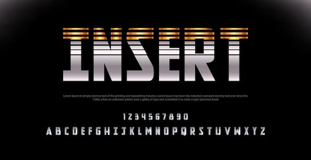 Esporte moderno alfabeto fonte e número. fontes de estilo urbano de tipografia para tecnologia, digital, filme.