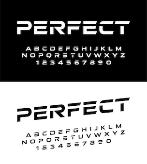 Esporte moderno alfabeto fontes e números. fonte de tipografia maiúscula e número